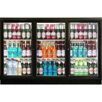 Blizzard BAR3SL Triple Sliding Door Bottle Cooler Black