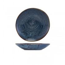 Terra Porcelain Aqua Blue Organic Coupe Bowl 21.5cm