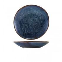 Terra Porcelain Aqua Blue Organic Coupe Bowl 26.5cm
