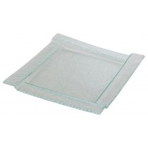 Square Glass Plate with Staggered Rim 30cm
