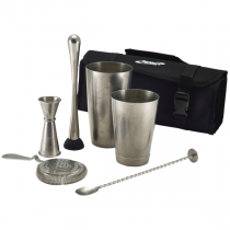 Vintage Steel Cocktail Bar Kit 7 Pieces