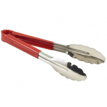 Genware Colour Coded Stainless Steel Tongs 23cm Red