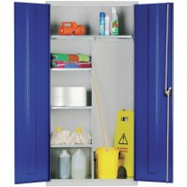Janitorial Cupboard Grey Blue Doors