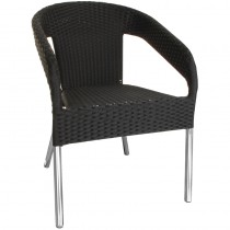 Bolero Wicker Wraparound Bistro Chairs Black