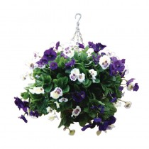 Artifical Hanging Pansy Ball Purple & White 22inch