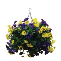 Artifical Pansy Ball Hanging Baket Purple & Yellow 22inch