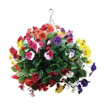 Artifical Pansy Ball Hanging Basket Mixed Colours 22inch