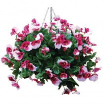 Artifical Pansy Ball Hanging Basket Pink 22inch