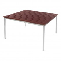 Square Outdoor Walnut Effect Faux Wood Table 1250mm