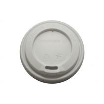 Compostable Domed Sip-Thru Lid White 10/16oz