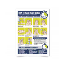 How to wash your hands in the workplace poster A2