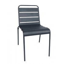 Bolero Slatted Steel Sidechairs Grey