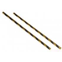 Black and Gold Striped Paper Straws 8inch
