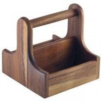 Small Dark Wood Table Caddy 15 x 15.3 x 15cm