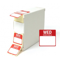 Food Labels Square Wednesday 25x25mm Red