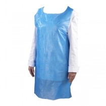 Disposable Polythene Bib Aprons Blue