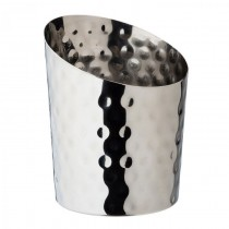 Stainless Steel Angled Conical Hammered Cup 9.5cm