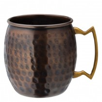 Hammered Aged Copper Round Mug 19oz/54cl