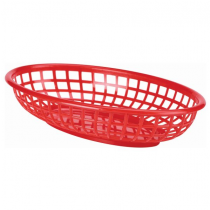 Oval Fast Food Basket Red 23.5 x 15.5cm