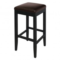 Bolero Faux Leather High Bar Stools Dark Brown