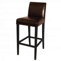 Bolero Faux Leather High Bar Stool with Full Back Dark Brown