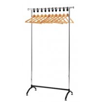 Chrome Coat Rack with 10 Wood Hangers