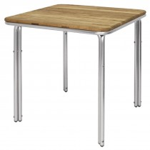 Bolero Square Ash & Aluminium Table 700mm