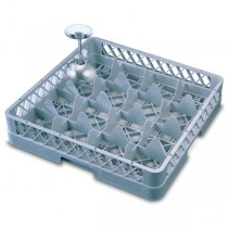 16 Compartment Glass Rack with 1 Extender Dark Grey