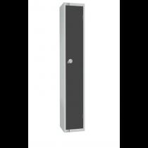 Elite Single Door Camlock Locker with Flat Top Graphite Grey 450mm