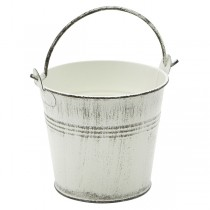 Galvanised Steel Serving Bucket White Wash 10cm