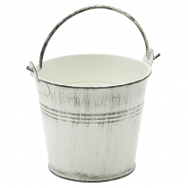 Galvanised Steel Serving Bucket White Wash 10cm