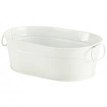Galvanised Steel Serving Bucket White 23 x 15 x 7cm