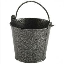 Galvanised Steel Serving Bucket Hammered Silver 10cm