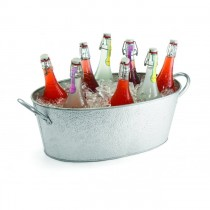 Oval Galvanised Steel Beverage Tub Pebbled Texture