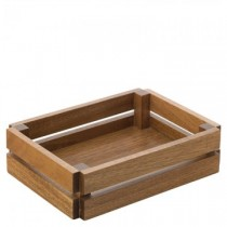 Acacia Small Crate  (22 x 16cm) H:  (5.75cm)  6 Pack