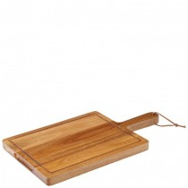 Acacia Wood Chicago Handled Board with Leather Strap 30 x 23cm