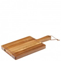 Acacia Wood Chicago Handled Board with Leather Strap 24 x 18cm