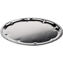 Embossed Oval Chrome Plated Tray 46 x 34cm
