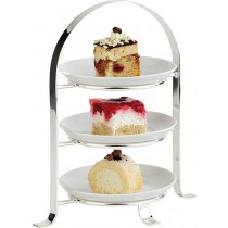 Chrome 3 Tier Plate Stand 10inch