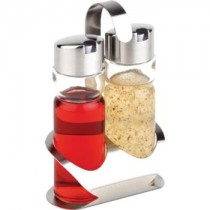 Stainless Steel Glass Oil & Vinegar Tray Set