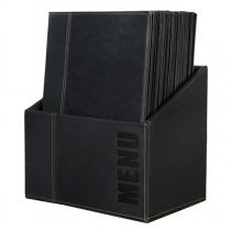 Contemporary Menu Box with 20 Menu Covers A4 Black