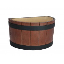 Half Barrel End Ice Tub Wood Grain Effect