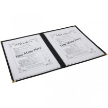 American Style Black Four Page Menu Holder A4