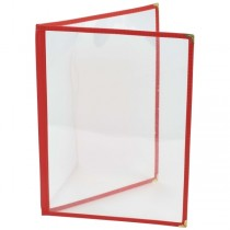 American Style Four Page Red Menu Holder A4