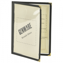American Style Four Page Black Menu Holder A5