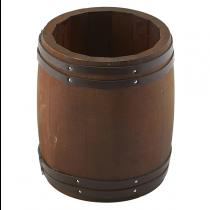 Miniature Dark Wooden Barrel