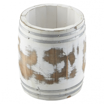 Miniature White Wash Wooden Barrel