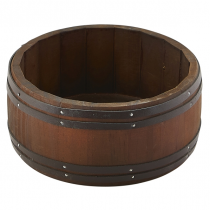 Miniature Dark Wooden Barrel 16.5 x 8cm