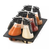 1.5Ltr NSF Salad Dressing Dispenser Set With Black Tray
