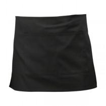 Short Waist Apron with Pocket Black